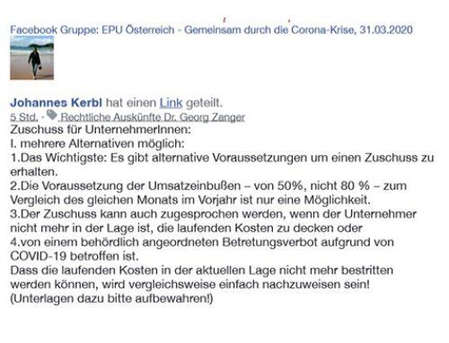 Facebook Gruppe: EPU Österreich – Gemeinsam durch die Corona-Krise